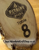 Artisan pizza wooden table number
