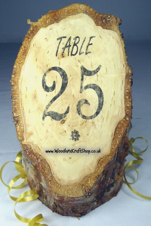 Rustic wooden table numbers for restaurants or weddings